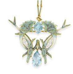 Lalique Jewelry II / AN ART NOUVEAU AQUAMARINE, ENAMEL AND DIAMOND ...