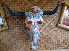 Dia De Los Muertos Cow Sugar Mosaic Skull by Laury Burns