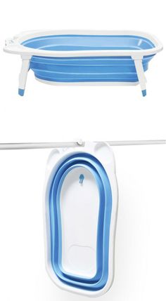 Folding baby bath tub by Karibu. Heat-sensitive bath plug turns from blue to white at 99 degrees, indicating when the water temperature is too high. BPA- and phthalate-free plastic.