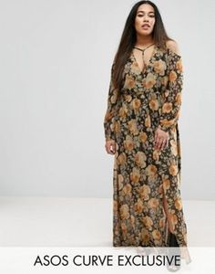 ASOS CURVE Cold Shoulder Long Sleeve Maxi Dress In Floral Print With Metallic Thread