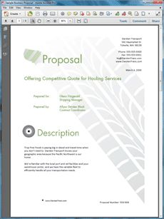 Transportation Shipping Services Sample Proposal - Create your own custom proposal using the full version of this completed sample as a guide with any Proposal Pack. Hundreds of visual designs to pick from or brand with your own logo and colors. Available only from ProposalKit.com (come over, see this sample and Like our Facebook page to get a 20% discount)