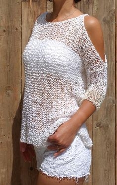 Summer Sweater Top Knitting Pattern PDF #ad
