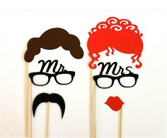Funny Wedding Photos Photobooth Props Set of 6 Mrs and Mrs Hipster Set Glasses Mustache Kiss Lips Wedding Photo Booth Props Party Decorations - Wedding Games, Wedding Pins, Diy Wedding, Hipster Wedding, Wedding Ideas, Wedding Decor, Estilo Hipster, Hipster Style, Wedding Photo Booth Props