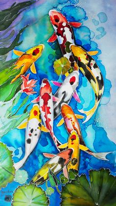 """Nine Kois"", by GM Choo (Original Batik Art Painting on Silk). Fabric Painting, Fabric Art, Painting & Drawing, Watercolor Fish, Watercolor Paintings, Watercolor Lesson, Mermaid Paintings, Wal Art, Carpe Koi"