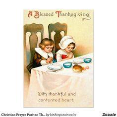 Christian Prayer Puritan Thanksgiving Dinner 5x7 Paper Invitation Card