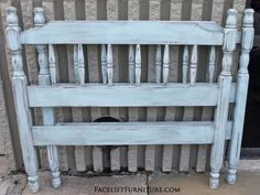 Twin bed in distressed Robin's Egg Blue with heavy Black Glaze. From Facelift Furniture's Robin's Egg Blue collection. Robins Egg Blue, Blue Furniture, Outdoor Decor, Refinishing Furniture, Furniture, Toddler Room, Repurposed Furniture, Home Decor, Vintage Furniture