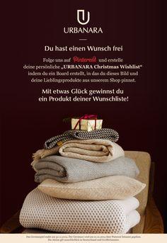 """Du hast einen Wunsch frei. Folge uns und erstelle deine persönliche """"URBANARA Christmas Wishlist"""" indem du ein Board erstellst, in das du dieses Bild und deine Lieblingsprodukte aus unserem Shop pinnst. Mit etwas Glück gewinnst du ein Produkt deiner Wunschliste! #urbanara #christmas #wishlist"""