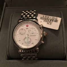 Michele CSX CX39 39mm Chronograph Watch Worn 2 times. Original tag and all elements of the box come with the sale, even dust cloth. The watch is beautiful and has the Michele signature stainless steel strap.  Adjustable, can bring to watch smith to size. Michele Accessories Watches