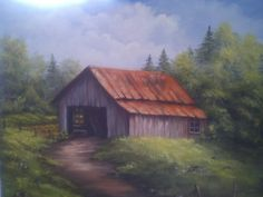 Image Search Results for landscape paintings acrylics Landscape Artwork, Watercolor Landscape, Watercolor Barns, Watercolor Ideas, Watercolour, Barn Pictures, Pictures To Paint, Bob Ross Paintings, Barn Paintings