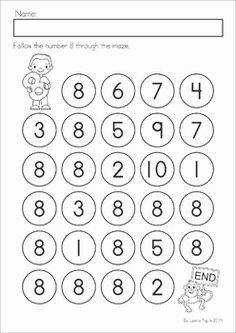 Number Maze (Numbers Great for use with dot-paints. Laminate and use with counters or other small objects for a center activity! Numbers Preschool, Preschool Books, Preschool Curriculum, Math Numbers, Preschool Math, Math Classroom, Maths, Kids Math Worksheets, Math Resources