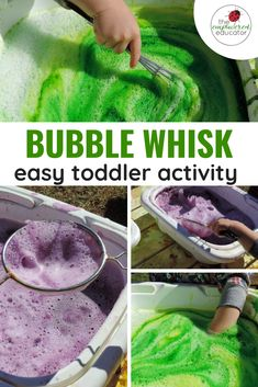I love to offer simple activities to toddlers that are fun but also support their emerging interests and strengths. Fine motor muscle strengthening and hand/eye coordination are skills that are… Fine Motor Activities For Kids, Sensory Activities Toddlers, Infant Activities, Sensory Play, Parenting Toddlers, Outdoor Toddler Activities, Water Play Activities, Bubble Activities, Tactile Activities