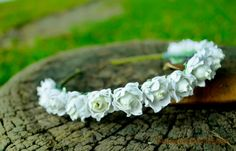Mini white rosebud headband earthy nature by BoutiquebyBrendaLee, Mini white rosebud earthy nature floral crown woodland twig tiara bridal whimsical flower girl floral wedding blossom head wreaths millinery statement accessories boho bohemian green quirky unique handmade australia