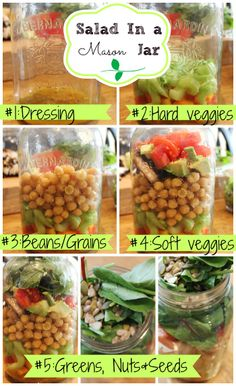 Healthy Salad In a Mason Jar recipe! Making your salads this way will keep you greens from going soggy! http://www.healthnutnutrition.ca/2014/03/01/salad-mason-jar-healthy-salad-recipe-weight-loss/