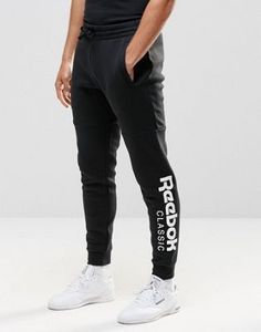 Shop the latest Reebok Large Logo Joggers In Black trends with ASOS! Mens Sweatpants, Jogger Sweatpants, Athletic Outfits, Sport Outfits, Reebok, Joggers Outfit, Track Suit Men, Mens Activewear, Trends