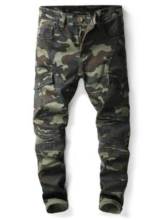 Slim Fit Camouflage Print Patch Decorated Jeans - ACU CAMOUFLAGE 38  Camouflage Jeans 3867c0be7d7