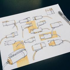 Industrial design sketches by Andy Gao Cool Sketches, Drawing Sketches, Copic Drawings, Sketching Techniques, Conceptual Drawing, Industrial Design Sketch, Drawing Quotes, Sketch Inspiration, Sketch Ideas