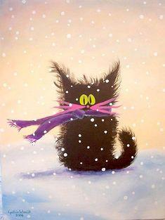Art: Snow Cat by Artist Cynthia Schmidt