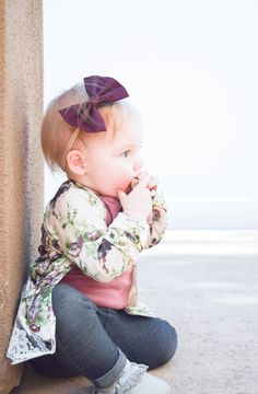 Floral + Wine: two of my favorite things. Wine colored baby bows, that is  Take a peek at Ava's floral kimono, wine bow and skinny jeans, over on the blog! #cutenessoverload  baby floral kimono, maroon baby bow, baby skinny jeans