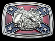 Southern Rebel Eagle Csa Stars Flag Belt Belts Buckle Buckles