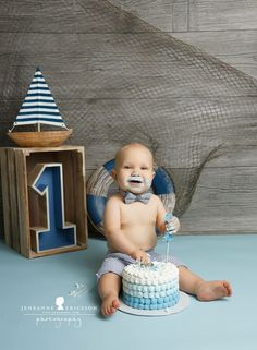 Love these colors! Blue nautical boy first birthday cake smash