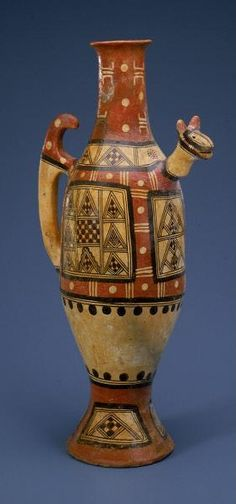 Africa | Water Jar. Kabyle peoples, Algeria | 19th century | Ceramic and pigment | To this day, Kabyle women coil and decorate pottery with beautiful, geometric designs for their own household use and for sale. Kabyle women handbuild vessels of various sizes and shapes for holding water, milk and oil, for cooking and eating food and for making oil lamps.