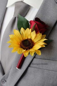 Red Rose Boutonniere, Sunflower Boutonniere, Red Rose Bouquet, Prom Corsage And Boutonniere, Groom Boutonniere, Corsages, Boutonnieres, Fall Sunflower Weddings, Sunflower Wedding Centerpieces