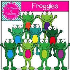 TPT freebie=This clipart set includes all of the images shown as well as a black and white version of the froggy. Classroom Jobs, Classroom Freebies, Classroom Crafts, Free Clipart For Teachers, Teachers Pay Teachers Free, Frog Activities, Activities For 2 Year Olds, Frog Theme, Free Artwork