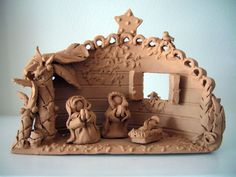 simple clay Nativity with wonderful backdrop