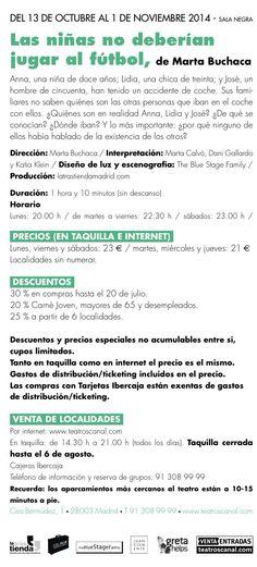 #lasniñasnodeberianjugaralfutbol En #teatrosdelcanal @teatroscanal en #septiembre . A veces en ser humano piensa bien..., y acierta . #martabuchaca #danielgallardo #martacalvo y #katiaklein #teatro