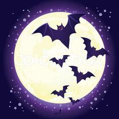 Bat vampire on background of the moon | Vector | Colourbox