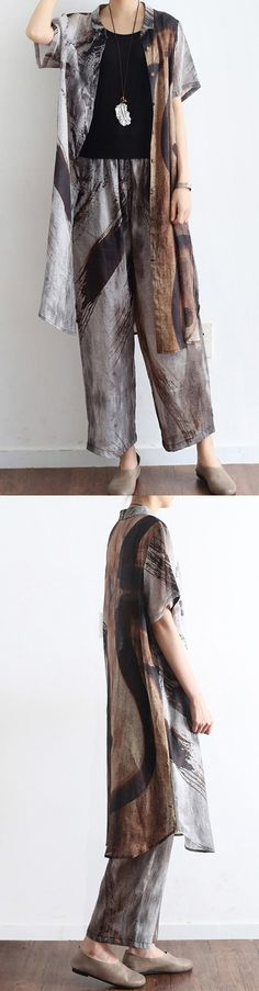 original khaki gray casual prints oversize linen shirts tops and pants, two pieces