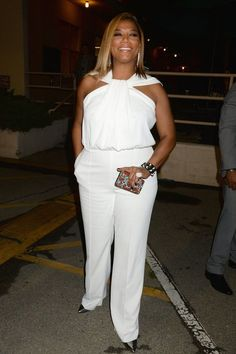 Queen Latifah's white jumpsuit at the MTV Movie Awards Queen Fashion, Curvy Girl Fashion, Look Fashion, Plus Size Fashion, Fashion Outfits, Plus Size Dresses, Plus Size Outfits, Queen Latifah, Mode Plus