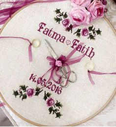 Nisan tepsisi Wedding Cross Stitch Patterns, Cross Stitch Baby, Cross Stitch Charts, Ribbon Embroidery, Cross Stitch Embroidery, Embroidery Patterns, Diy Crafts Hacks, Diy And Crafts, Arts And Crafts