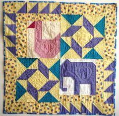Elephant baby quilt block