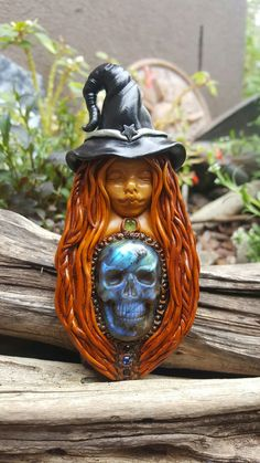 Labradorite skull Wild woman witch crystal clay pendant handcrafted by Wakee's Wares on facebook ✌