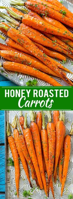 This recipe for honey roasted carrots is whole carrots, bathed in honey and roasted to perfection. #BuzznBloom #ad