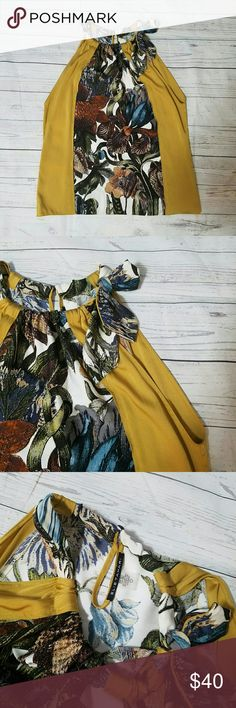 ☇ FLASH SALE Elie Tahari Gold floral silk sack top Ties around side of neck. Fabric tag is missing, so roughly 95%silk, 5% elastane. Size was on fabric tag. 20 inches armpit to armpit. About 24 inches long from the top of the shoulder. Very good condition. Elie Tahari Tops Blouses
