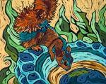 soft pastel abstract animals - the village squirrel monique straub h