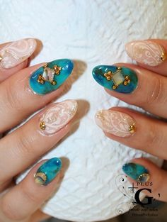 Stamp teal white rhinestone gold beads