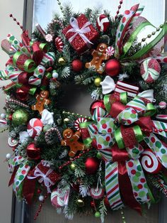 """""""CHRISTMAS BOUTIQUE WINDOW"""" -  Whimsical & Festive Holiday Gingerbread Candy Wreath Decoration by DecorClassicFlorals, $ 174.95 on Etsy"""