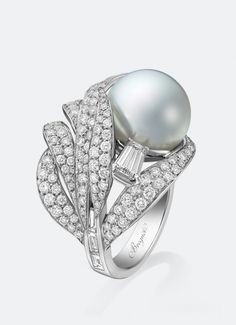 Bague Plumes Pearl and Diamond Ring by Breguet