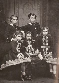The Children of King Edward VII and Queen Alexandra: George, Louise, Maud, Albert Victor, and Victoria.