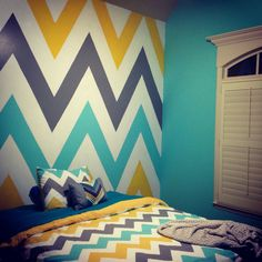 My daughters new chevron wall!! Love!