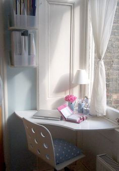 20 Ideas To Organize Workspace In Bedroom | Shelterness I love the cozy little corner, looking out the window thing...