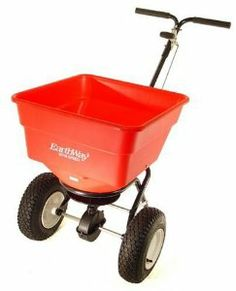 Earthway 2170 Commercial 100-Pound Broadcast Push Spreader by EarthWay. $210.81. Features large, 13-inch pneumatic tires. Durable coated frame; adjustable handle. Super-duty gearbox with enclosed gears for longer-lasting wear. 3350-cubic-inch capacity for 100 pounds of material. Amazon.com                The Earthway Commercial 100-pound broadcast push spreader features a high-volume, 3350-cubic-inch hopper with the ability to hold up to 100 pounds of fertilizer. It...