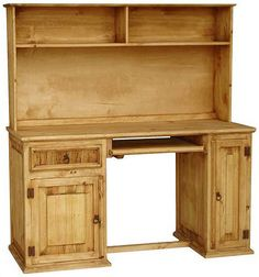 Rustic Mexican Pine Furniture | Rustic Furniture - Computer Mexican Rustic Pine Desk with Hutch