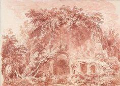 "Jean-Honoré Fragonard - ""Vista do Serapeum no Villa de Adriano"", 1760"