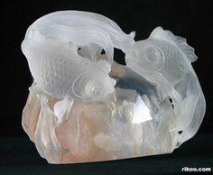 "3.3 "" Quartz Rock Crystal Crystal Carved Fish Sculpture. Stone origin : Madagascar. Via rikoo.com"