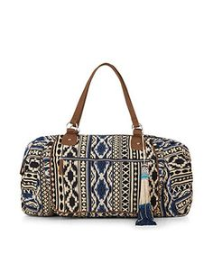 Category: Bags > Travel This woven weekend bag features an ikat-style design in shades of black and blue, with leather-look panels and shoulder straps, finished with silver-coloured metallic detailing. A beautiful beaded tassel charm adds the finishing touch. Spacious and stylish, it's an ideal bag for weekend getaways. Style: Printed Colour: Blue