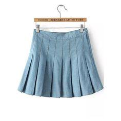 SheIn(sheinside) Light Blue Pleated Denim Skirt ($16) ❤ liked on Polyvore